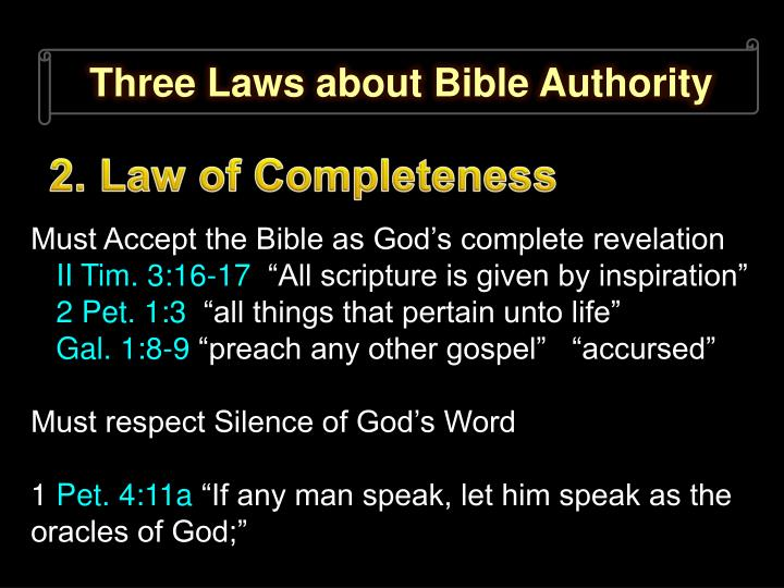 Three Laws about Bible Authority