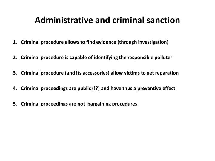Administrative and criminal sanction