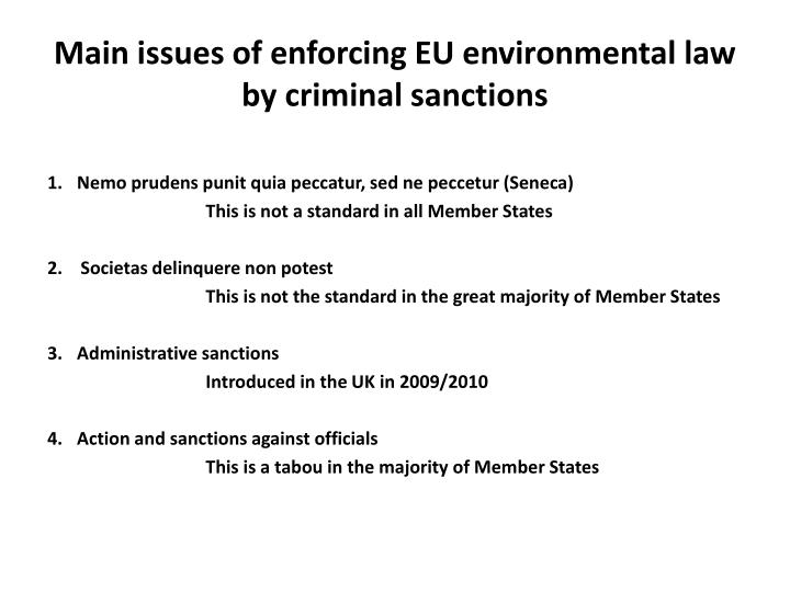 Main issues of enforcing EU environmental law