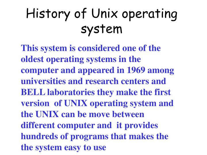 History of unix operating system