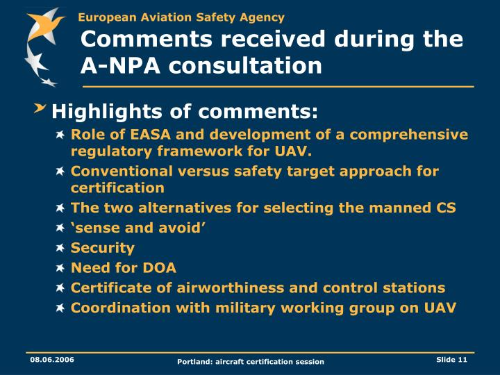 Comments received during the A-NPA consultation