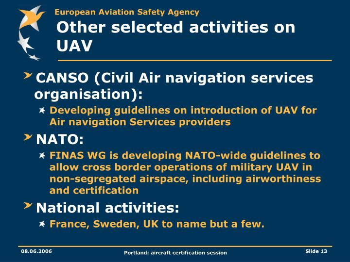 Other selected activities on UAV