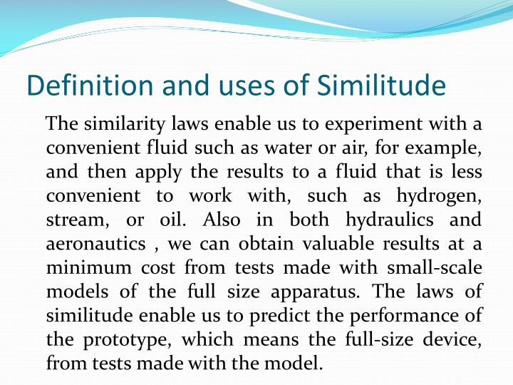 Definition and uses of Similitude