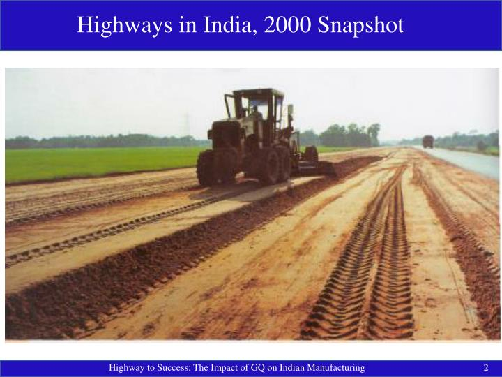 Highways in India, 2000 Snapshot
