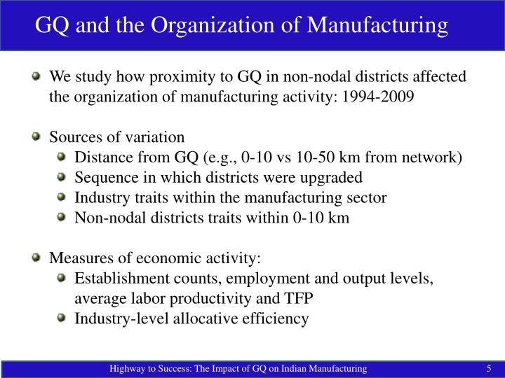 GQ and the Organization of Manufacturing