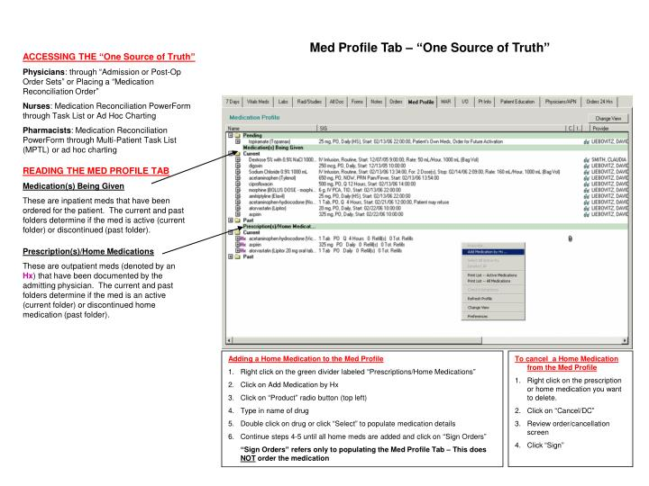 "Med Profile Tab – ""One Source of Truth"""