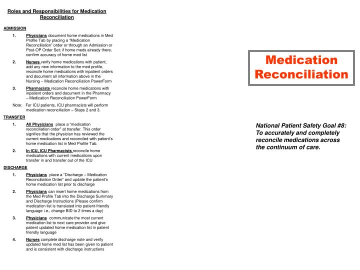 Roles and Responsibilities for Medication Reconciliation