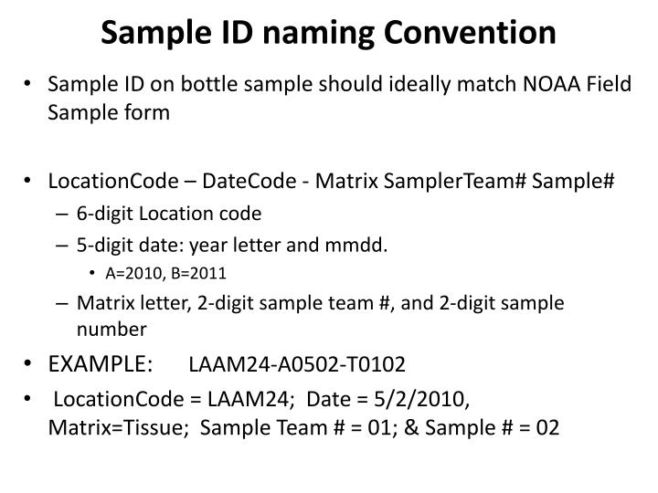 Sample ID naming Convention