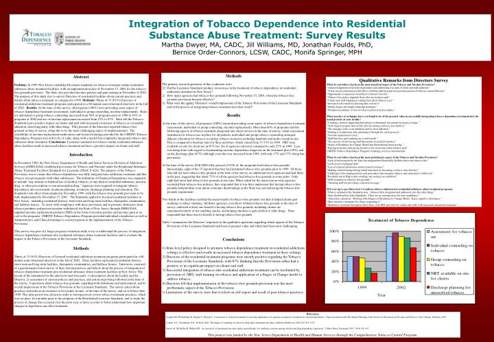 Integration of Tobacco Dependence into Residential Substance Abuse Treatment: Survey Results