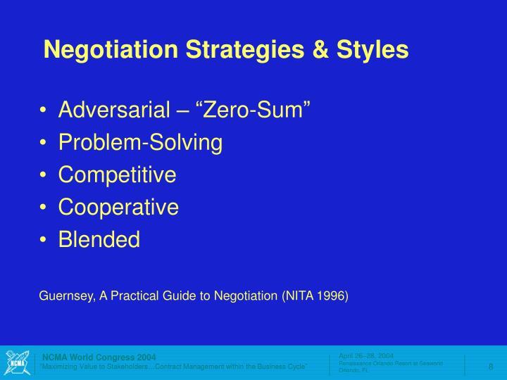 Negotiation Strategies & Styles
