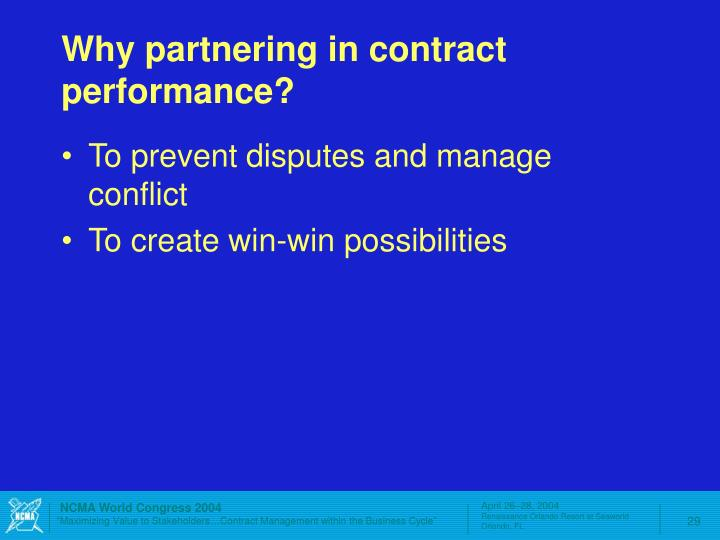 Why partnering in contract performance?