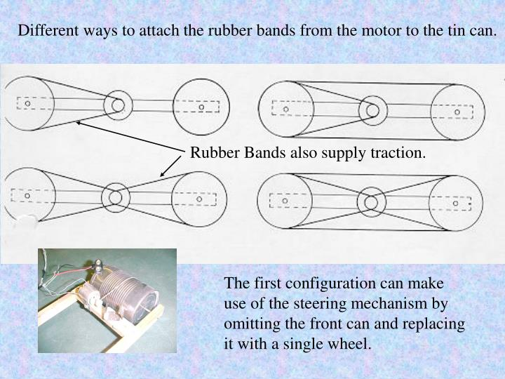 Different ways to attach the rubber bands from the motor to the tin can.