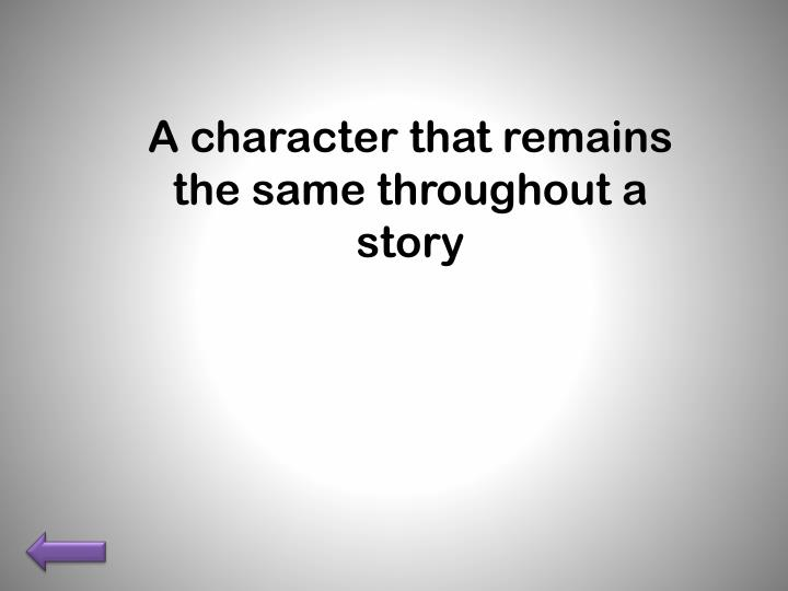 A character that remains the same throughout a story