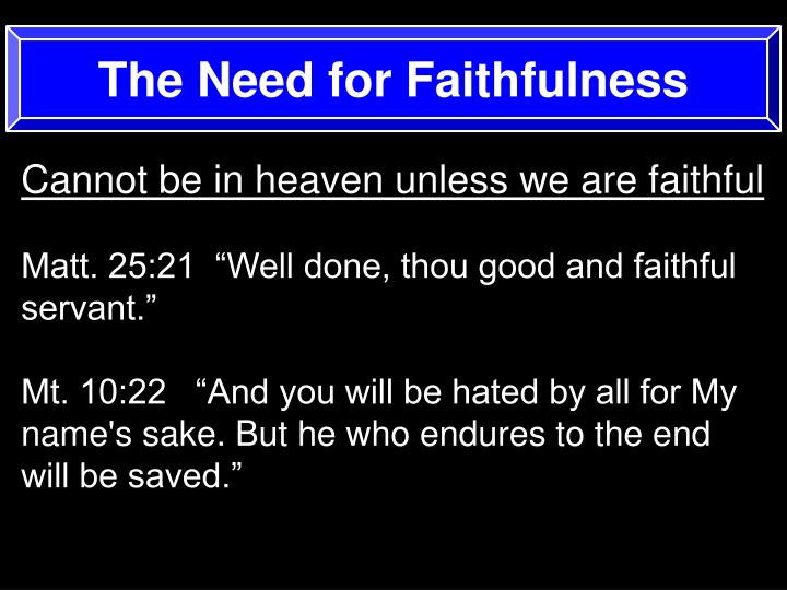 The Need for Faithfulness