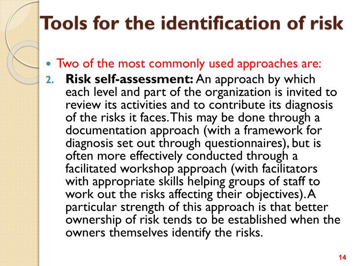 Tools for the identification of risk