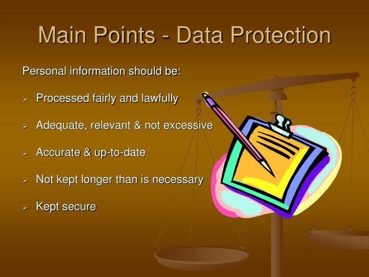 Main Points - Data Protection