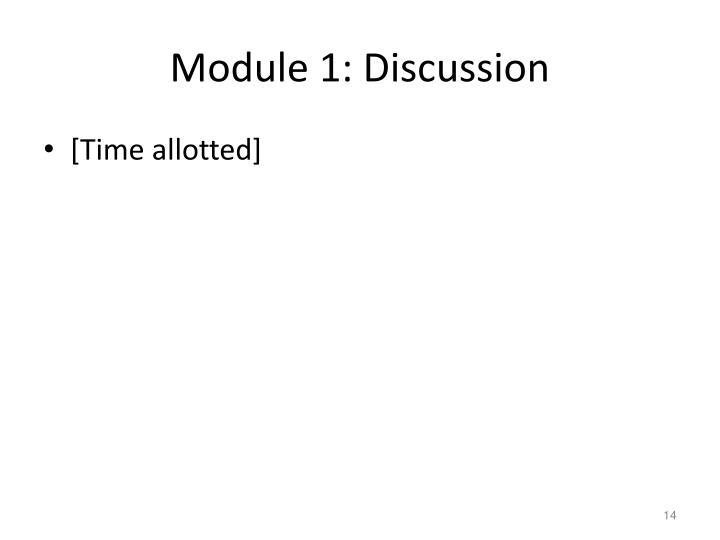 Module 1: Discussion