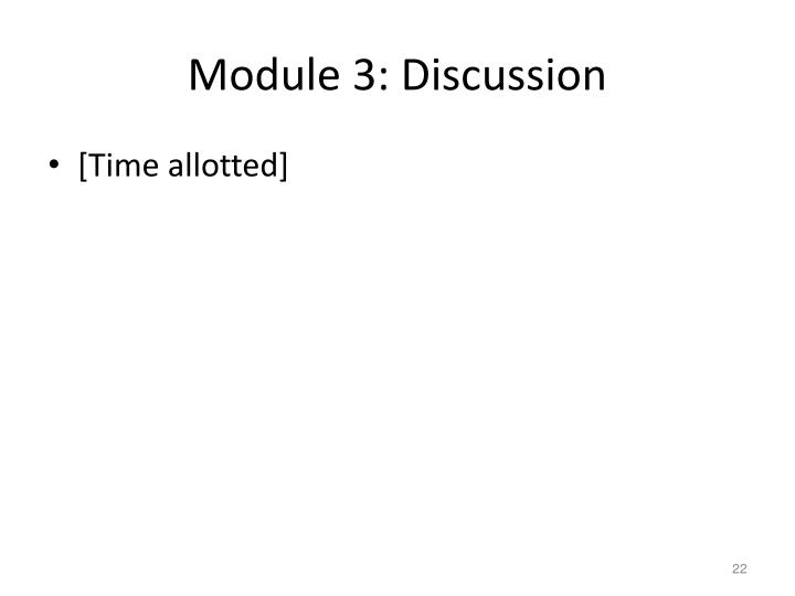 Module 3: Discussion