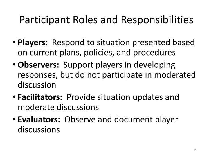 Participant Roles and Responsibilities