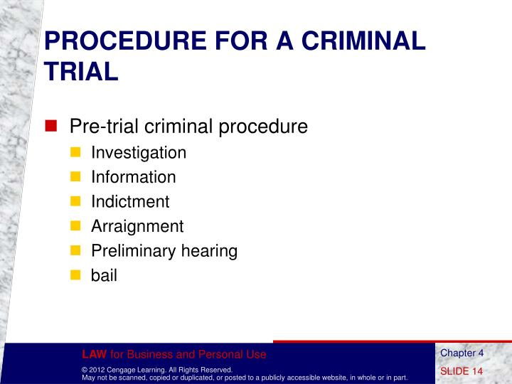 PROCEDURE FOR A CRIMINAL TRIAL