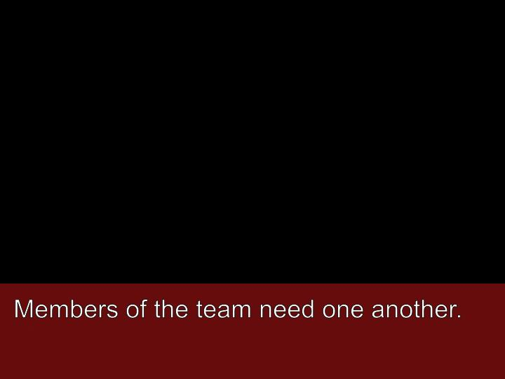 Members of the team need one another.