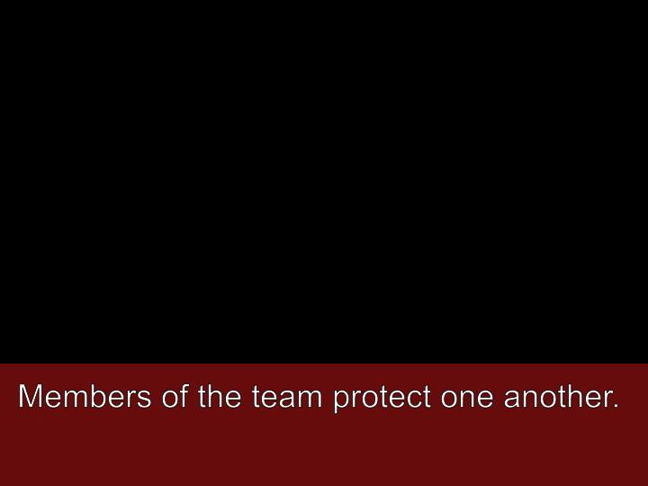 Members of the team protect one another.