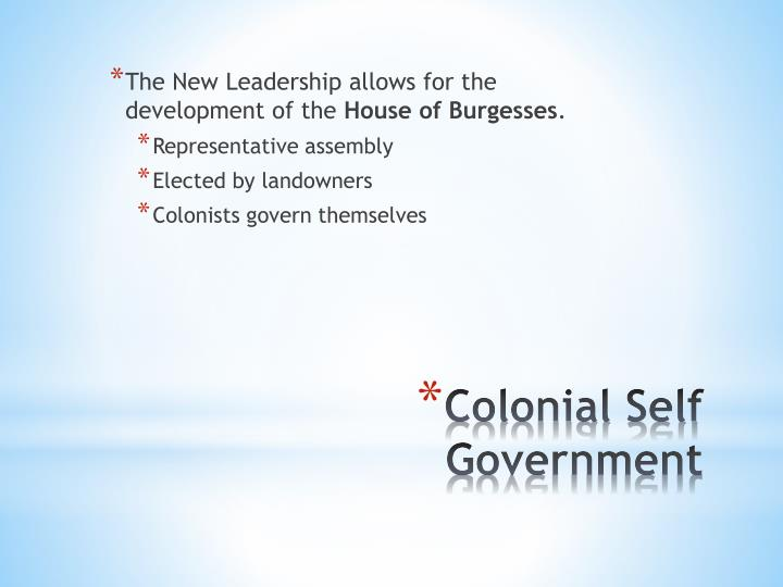 The New Leadership allows for the development of the