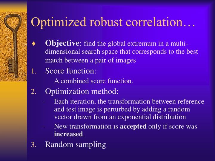 Optimized robust correlation…