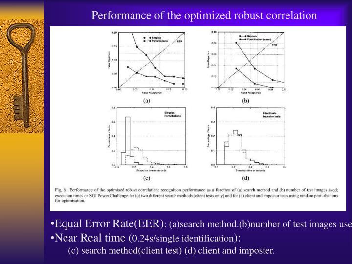 Performance of the optimized robust correlation