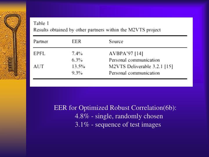 EER for Optimized Robust Correlation(6b):