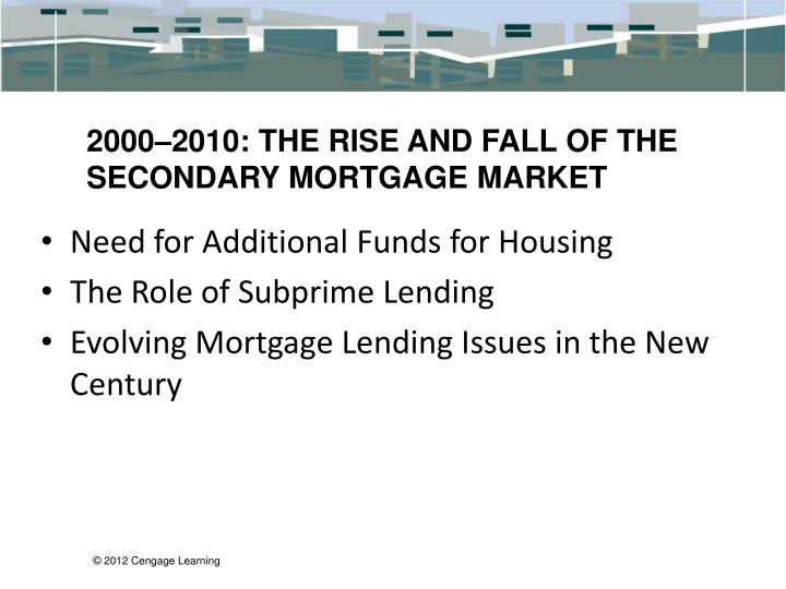 2000–2010: THE RISE AND FALL OF THE SECONDARY MORTGAGE MARKET