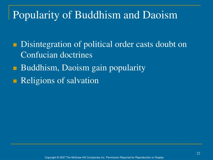 Popularity of Buddhism and Daoism