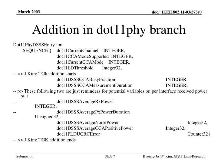 Addition in dot11phy branch