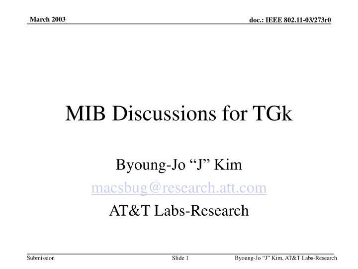 MIB Discussions for TGk