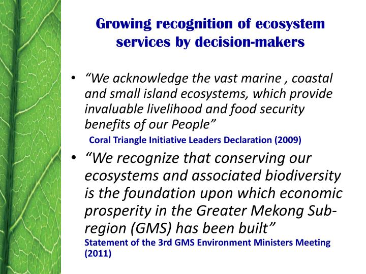 Growing recognition of ecosystem services by decision-makers