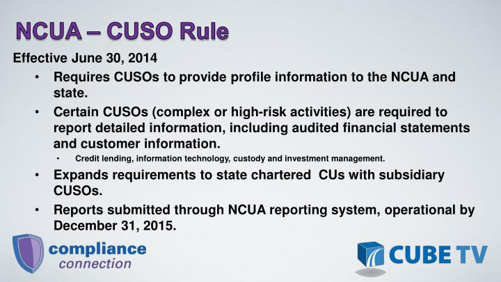 NCUA  CUSO Rule