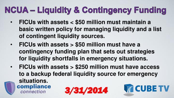 NCUA  Liquidity & Contingency Funding