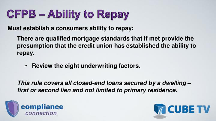 CFPB  Ability to Repay