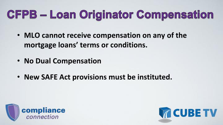 CFPB  Loan Originator Compensation