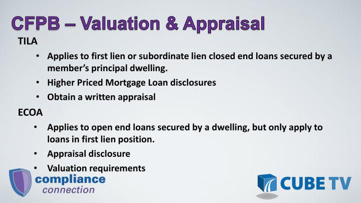 CFPB – Valuation & Appraisal
