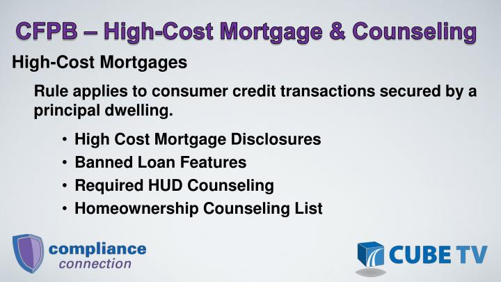 CFPB  High-Cost Mortgage & Counseling