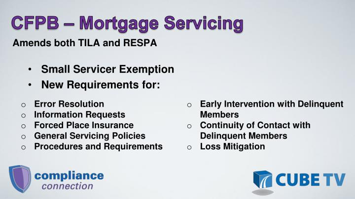 CFPB – Mortgage Servicing