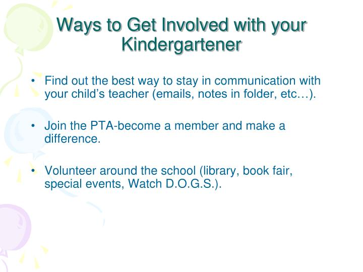 Ways to Get Involved with your Kindergartener