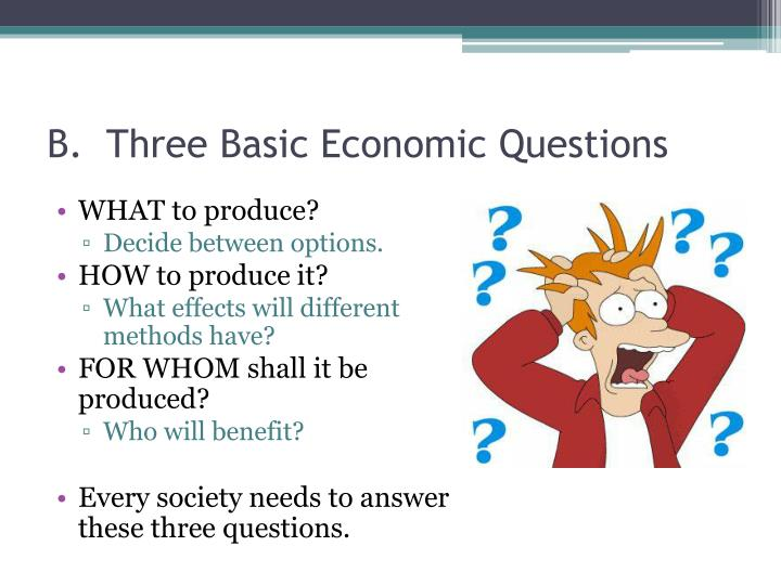 B.  Three Basic Economic Questions