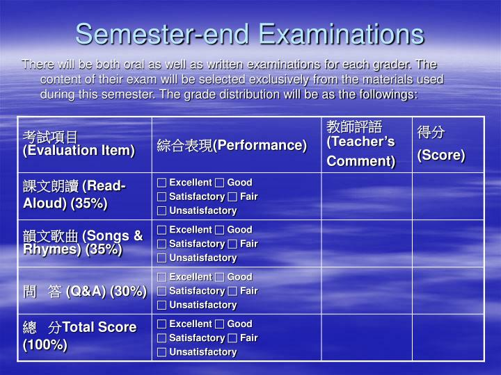Semester-end Examinations