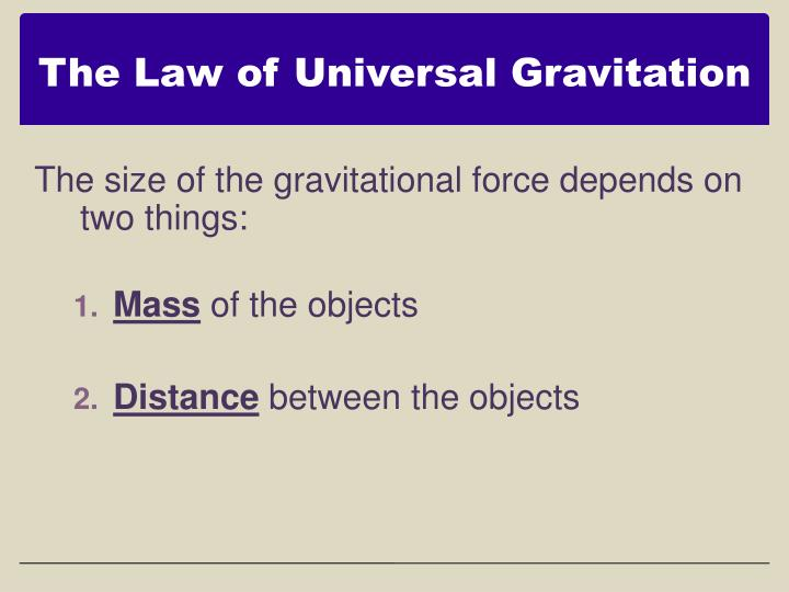 The Law of Universal Gravitation