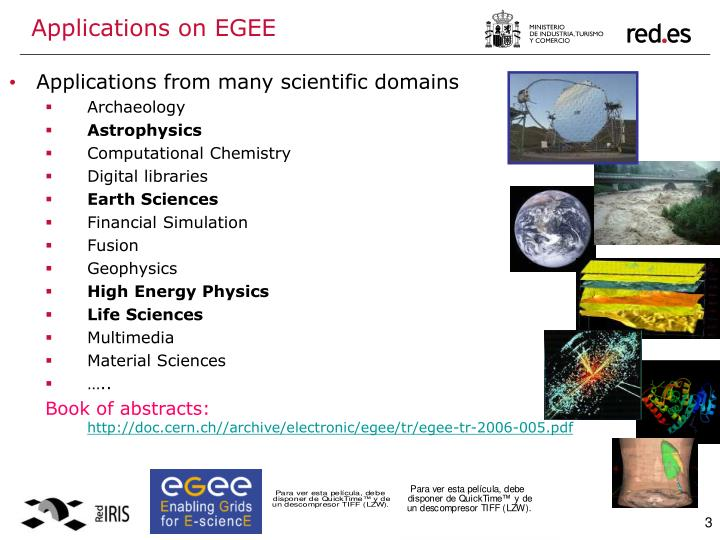 Applications on egee