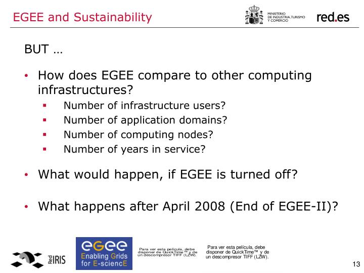 EGEE and Sustainability