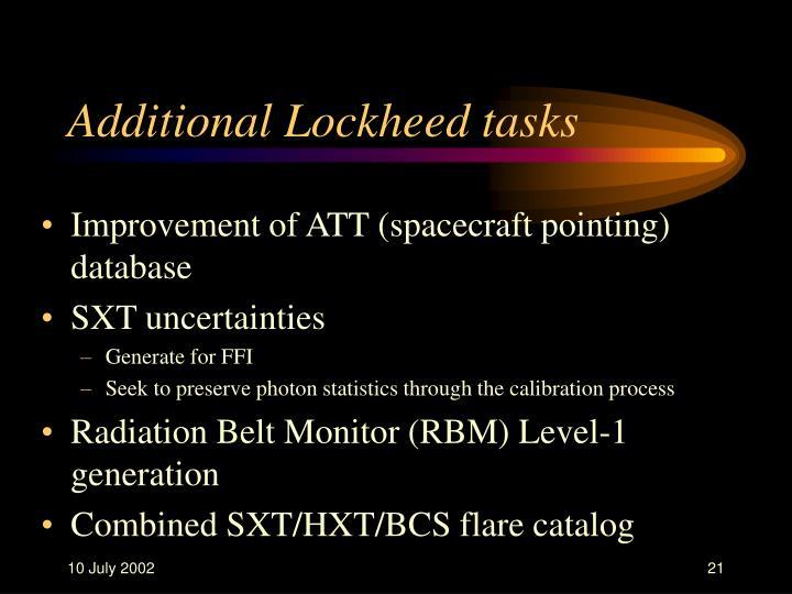 Additional Lockheed tasks