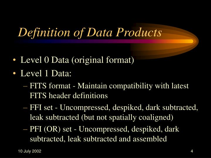 Definition of Data Products